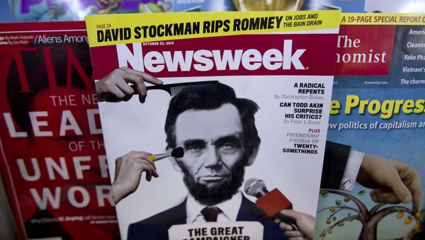 A copy of Newsweek is seen at Joe's Smoke, Thursday, Oct. 18, 2012, in Portland, Maine. Newsweek announced Thursday, Oct. 18, 2012 that it will end its print publication after 80 years and shift to an all-digital format in early 2013. Its last U.S. print edition will be its Dec. 31 issue. The paper version of Newsweek is the latest casualty of a changing world where readers get more of their information from websites, tablets and smartphones. - Sputnik Mundo