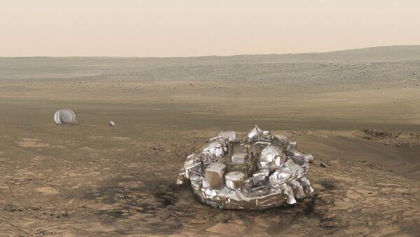 El módulo Schiaparelli en Marte (ilustración) - Sputnik Mundo