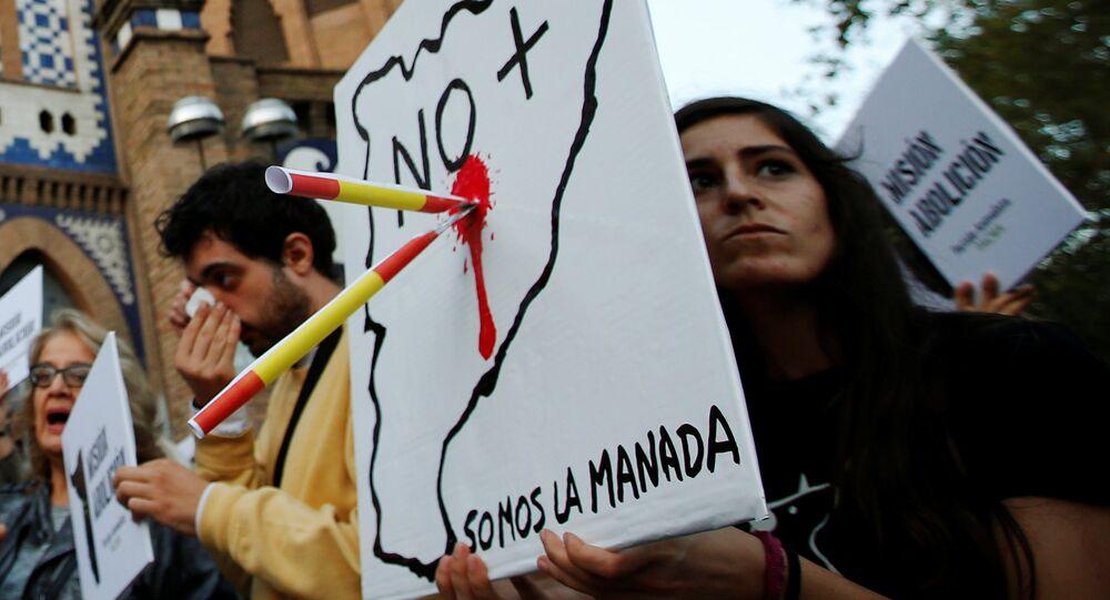 Una protesta contra la celebración de corridas de toros en Barcelona