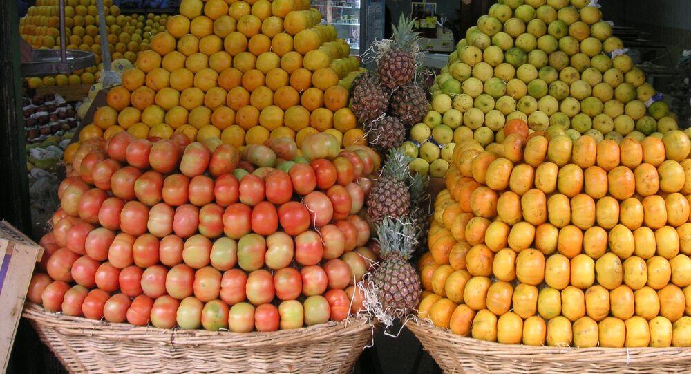 Frutas en un mercado en Argentina