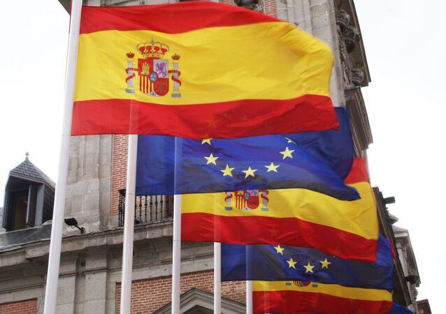 Banderas de España y de la UE