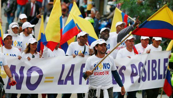 Manifestación a favor de paz con las FARC en Bogotá - Sputnik Mundo
