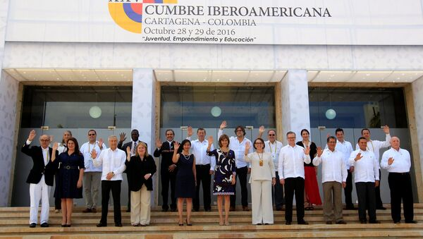 Leaders pose for a photo during the 25th Iberoamerican Summit in Cartagena, Colombia - Sputnik Mundo
