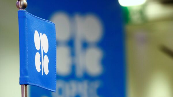 The OPEC flag and the OPEC logo are seen before a news conference in Vienna, Austria - Sputnik Mundo