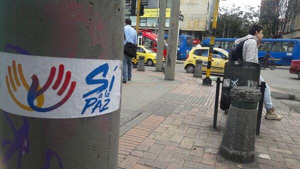 Un cartel diciendo Sí a la paz en Colombia - Sputnik Mundo
