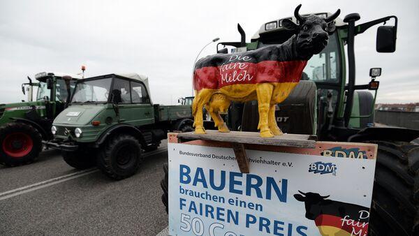 Una acción de protesta de los lecheros alemanes (archivo) - Sputnik Mundo