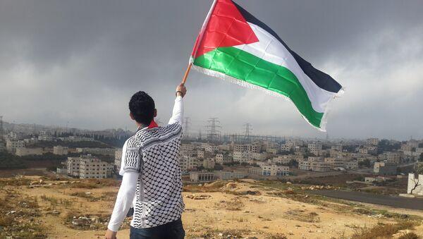 Un hombre con la bandera de Palestina (archivo) - Sputnik Mundo