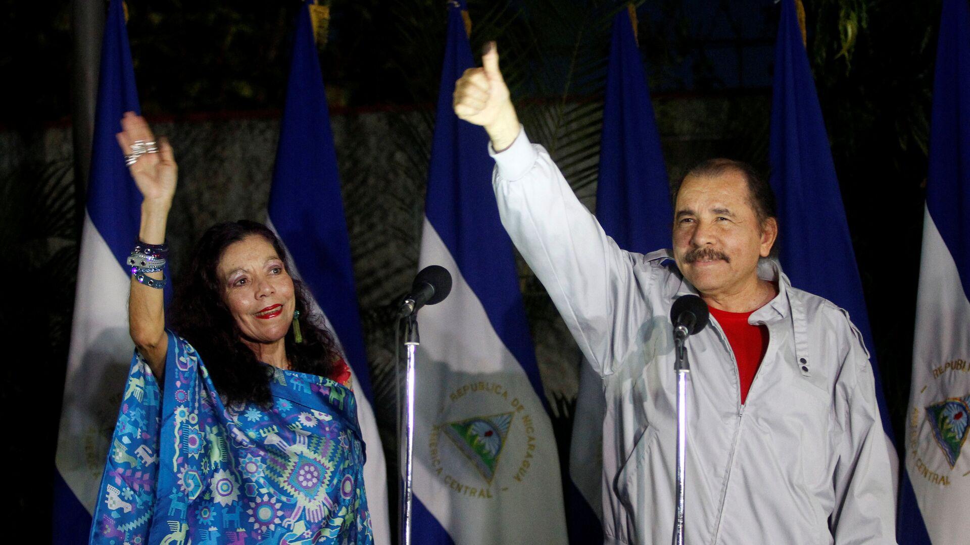 El presidente de Nicaragua, Daniel Ortega, y la vicepresidenta de la República, Rosario Murillo - Sputnik Mundo, 1920, 02.08.2021
