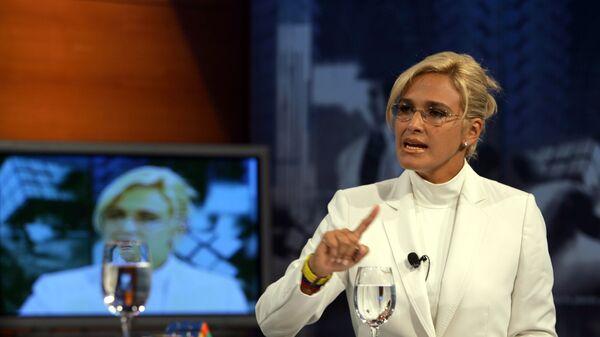 Ecuadorean Presidential candidate Cynthia Viteri talks during a TV show, This Monday - Sputnik Mundo