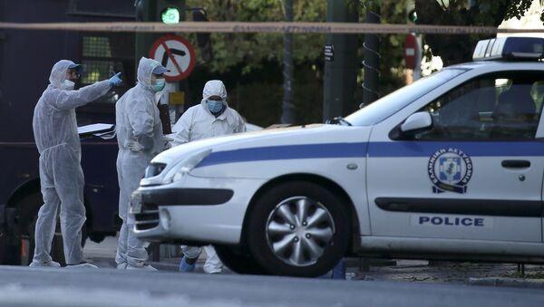 Lugar de la explosión en Atenas - Sputnik Mundo