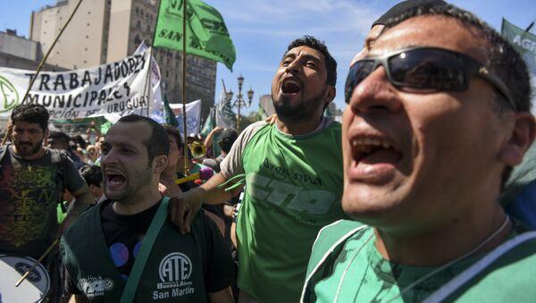 Protesta de trabajadores en Buenos Aires, Argentina (archivo) - Sputnik Mundo