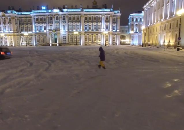 Snowboard frente al Hermitage