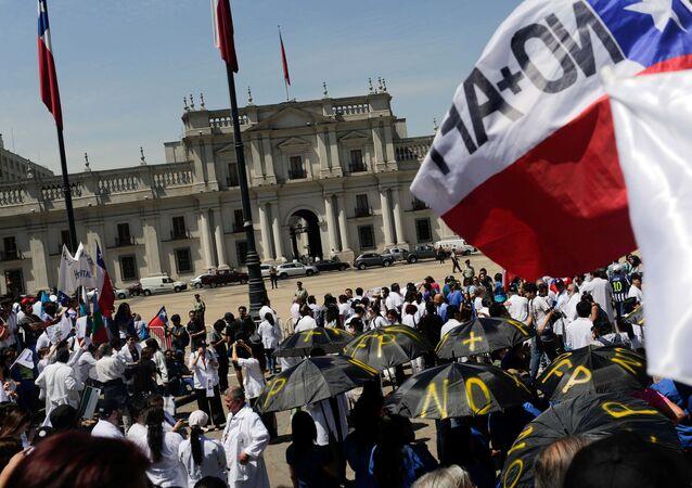 La manifestación de médicos en Chile