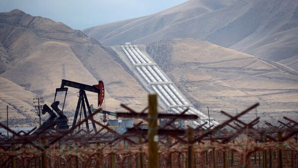 An oil derrick is seen near vineyards north of the Grapevine in central California's Kern County where the Chrisman Wind Gap Pumps, part of the California Aqeduct System, lifts water about 800 feet up the mountainside to begin its crossing of the Tehacahpis to deliver water into Southern California, on February 3, 2014 - Sputnik Mundo