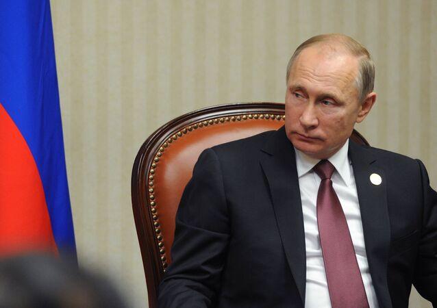 El mandatario ruso, Vladímir Putin, durante una reunión en la cumbre de la APEC en Lima, Perú