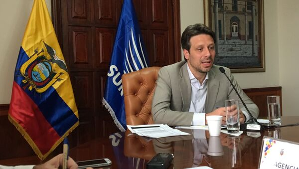 El canciller ecuatoriano, Guillaume Long, dialogó con la prensa extranjera radicada en Ecuador. - Sputnik Mundo