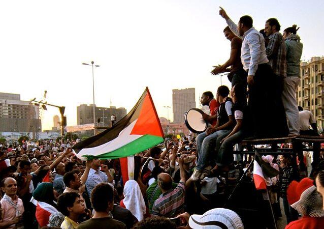 Los palestinos protestan (archivo)
