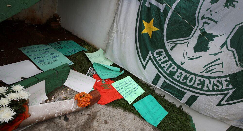 Homenaje a los jugadores del club Chapecoense