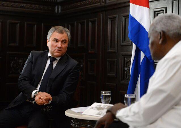 Presidente de la Duma de Estado, Viacheslav Volodin, con su homólogo cubano Esteban Lazo