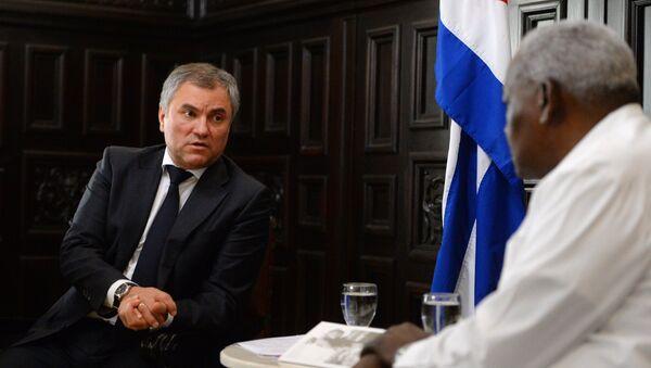 Presidente de la Duma de Estado, Viacheslav Volodin, con su homólogo cubano Esteban Lazo - Sputnik Mundo