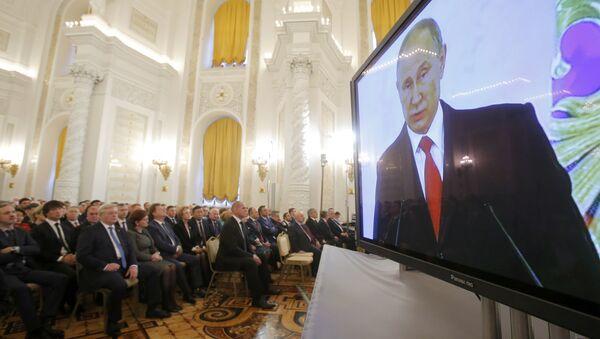 Vladímir Putin, presidente de Rusia, durante el discurso - Sputnik Mundo