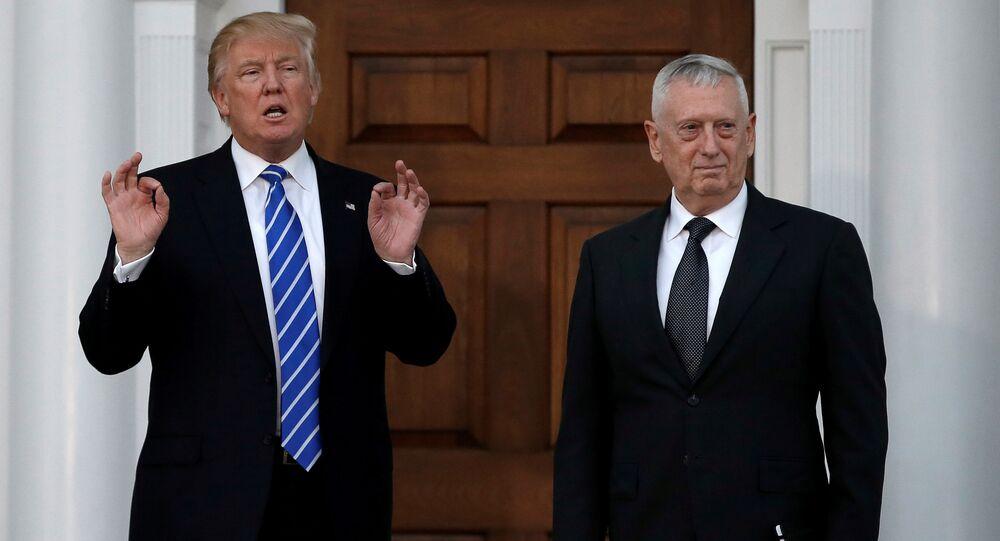 El presidente de EEUU, Donald Trump, y jefe saliente del Pentágono, James Mattis (archivo)