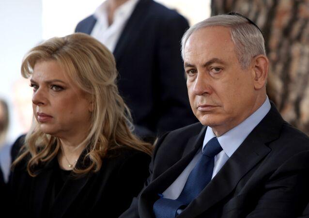 Sara Netanyahu y el primer ministro israelí, Benjamín Netanyahu