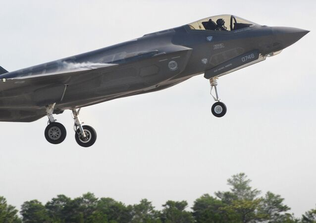 United States Air Force F-35 Lightning II fighter aircraft takes off during flight operations at Eglin Air Force Base, Florida.