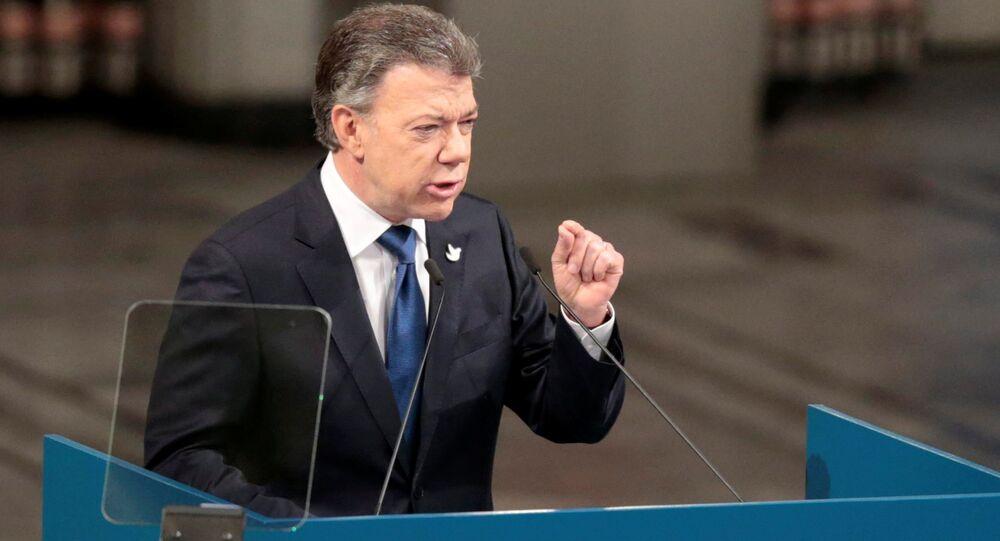 Juan Manuel Santos pronuncia el discurso en el marco del recibimiento del premio Nobel de Paz