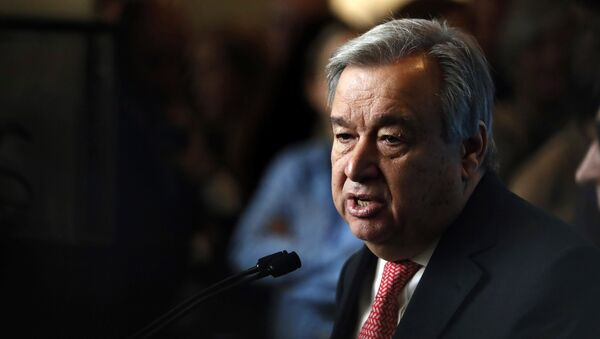 UN Secretary-General-designate Mr. Antonio Guterres of Portugal speaks to members of the media after being sworn in at UN headquarters in New York - Sputnik Mundo