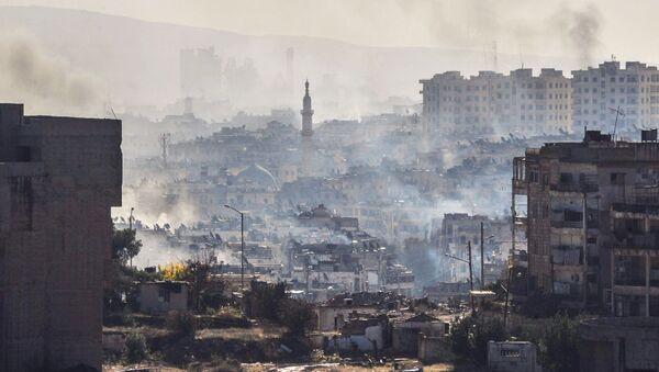 Вид на Алеппо во время операции по выводу террористов из города - Sputnik Mundo