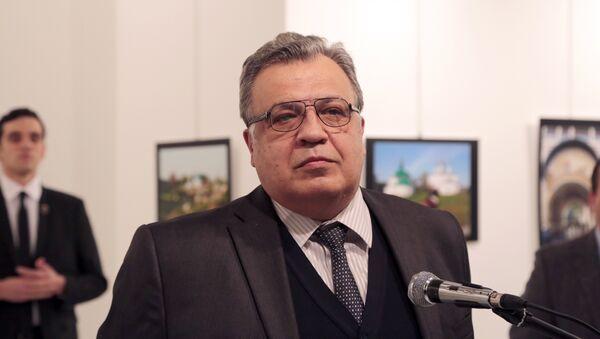 The Russian Ambassador to Turkey Andrei Karlov speaks a gallery in Ankara Monday Dec. 19, 2016. - Sputnik Mundo