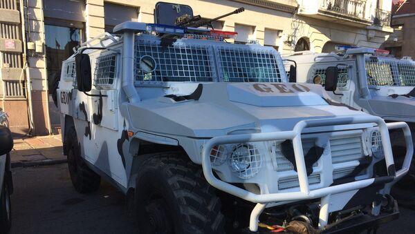Camión Tigr de origen ruso adquirido por el Gobierno de Uruguay estacionado en Montevideo en el marco del acto conmemoración del día de la Policía Nacional. - Sputnik Mundo