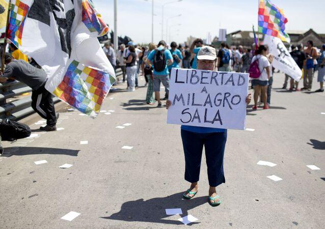 Protesta por el arresto de Milagro Sala (archivo)