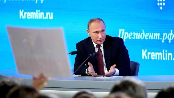 Двенадцатая ежегодная большая пресс-конференция президента РФ Владимира Путина - Sputnik Mundo