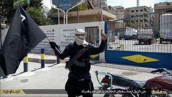 Combatiente extremista se fotografía a las afueras de una filial de Cascos Blancos en el campo de Yarmuk, controlado por Daesh - Sputnik Mundo