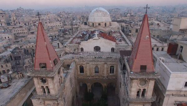 Terroristas implacables: Lo que queda de la Catedral de San Elías en Alepo - Sputnik Mundo