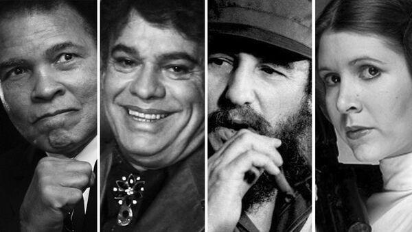 El boxeador Mohamed Alí, el cantautor Juan Gabriel, Fidel Castro y la actriz Carrie Fisher protagonizando a la princesa Leia - Sputnik Mundo