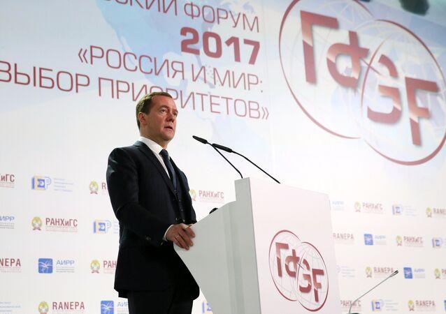 Dmitri Medvédev, el primer ministro ruso, en el Foro Gaidar