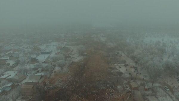 Un dron filma la pista de la muerte del avión caído cerca de Biskek - Sputnik Mundo