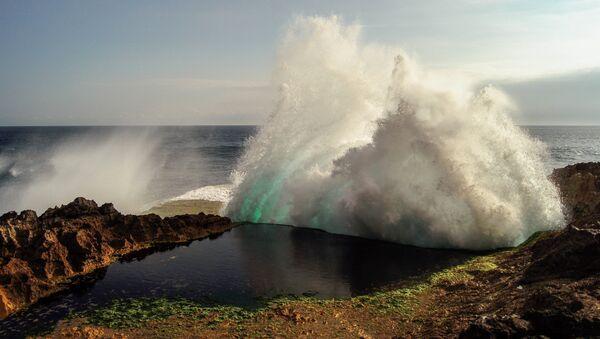 Una ola gigantesca (imagen referencial) - Sputnik Mundo