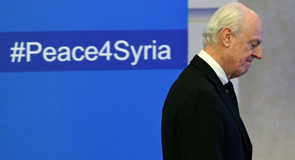 Staffan de Mistura, enviado especial de la ONU para Siria, en las consultas en Astaná