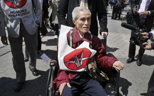 Sumiteru Taniguchi, superviviente del bombardeo atómico sobre Nagasaki ocurrido el 9 de agosto de 1945. - Sputnik Mundo
