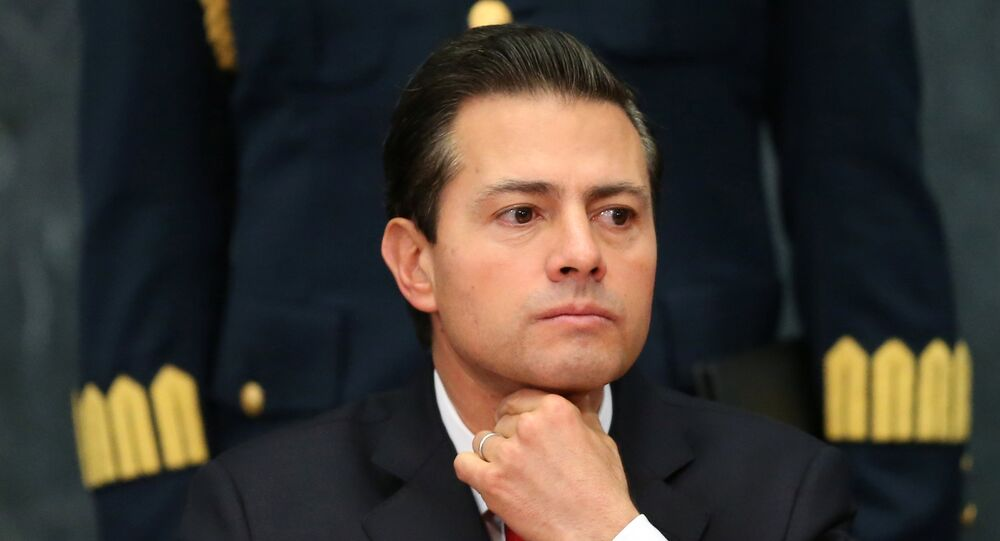 Mexico's President Enrique Pena Nieto gestures as he delivers a message about foreign affairs at Los Pinos presidential residence in Mexico City, Mexico, January