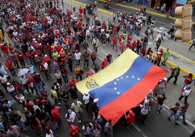 Una marcha progubernamental en Caracas, Venezuela