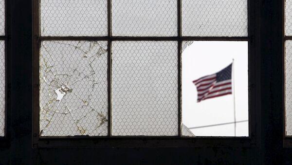 Bandera de Estados Unidos en una base militar - Sputnik Mundo