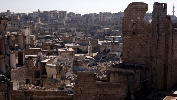 A general view shows damaged buildings at al-Kalasa district of Aleppo, Syria in Aleppo, Syria, February 2, 2017 - Sputnik Mundo