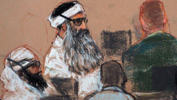 Ilustración de Jálid Sheij Mohámed durante su proceso penal en Guantánamo, 8 de diciembre de 2008 - Sputnik Mundo