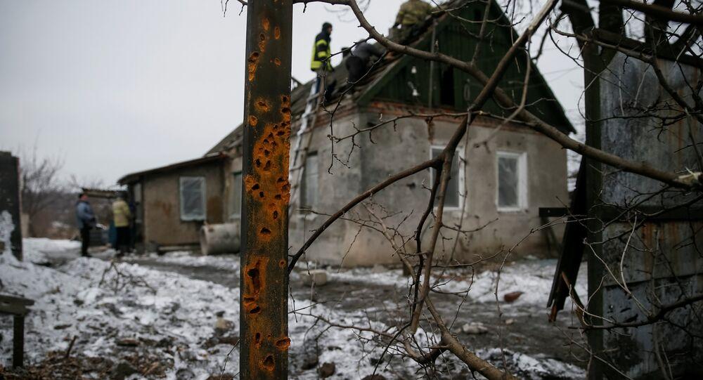 Edificio destruido por bombardeos en Donbás