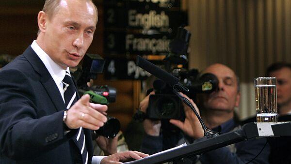 Presidente de Rusia, Vladímir Putin, durante su discurso en Múnich en 2007 - Sputnik Mundo